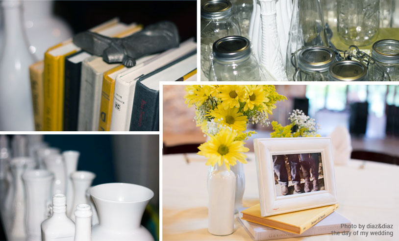 wedding centerpieces with flowers, vases, and books diy